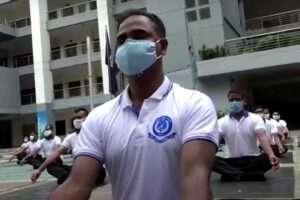 Bangladesh-police-yoga-excercise