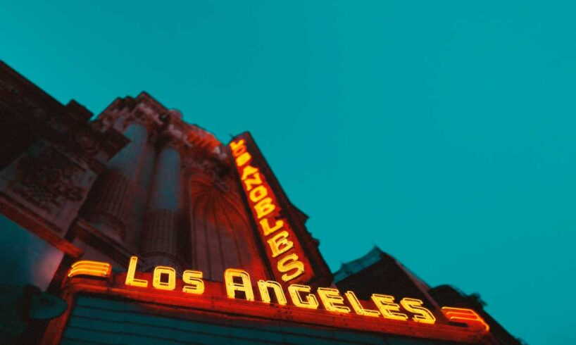 Photography-of-Brown-Building-With-Los-Angeles-Led-Sign
